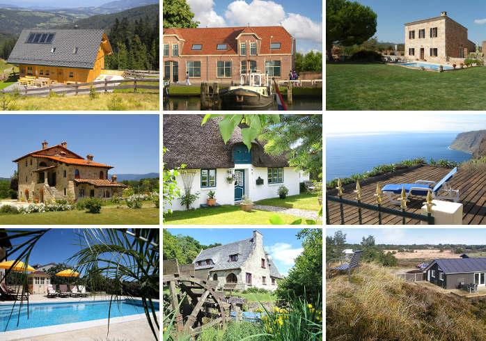 Collage aus top bewerteten Ferienhäusern bei atraveo