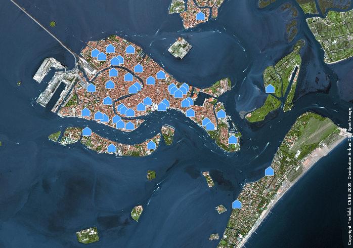 Ferienhäuser in Venedig im Satellitenbild