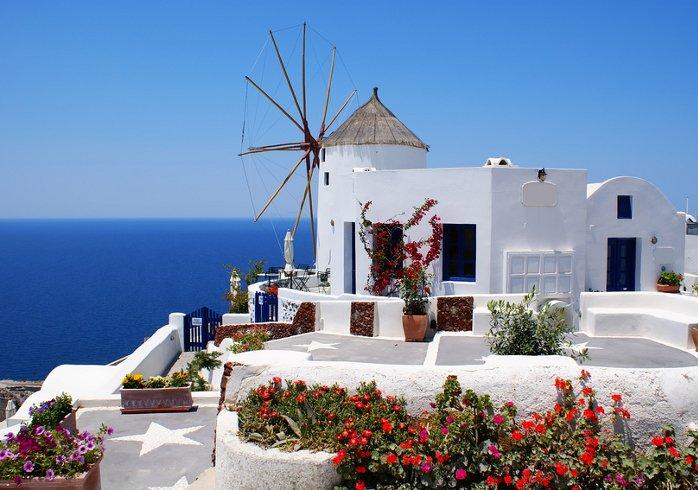 Windmühle in Oia, Santorin