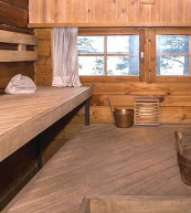 Sauna d'une maison pour douze personnes située aulac Saimaa.