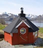 Sauna bei einem Ferienhaus für sechs Personen auf den Lofoten.