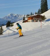 Direkt an der Skiabfahrt gelegene Almhütte für bis zu zehn Personen.