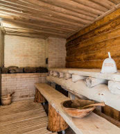 Sauna eines umfangreich ausgestatteten Ferienhauses im Riesengebirge.