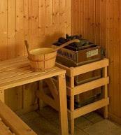 Sauna d'une maison de vacances pour dix personnes située dans le domaine skiable des 4 Vallées.