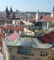 Vue sur le centre-ville de Prague d'un appartement pour sept personnes.