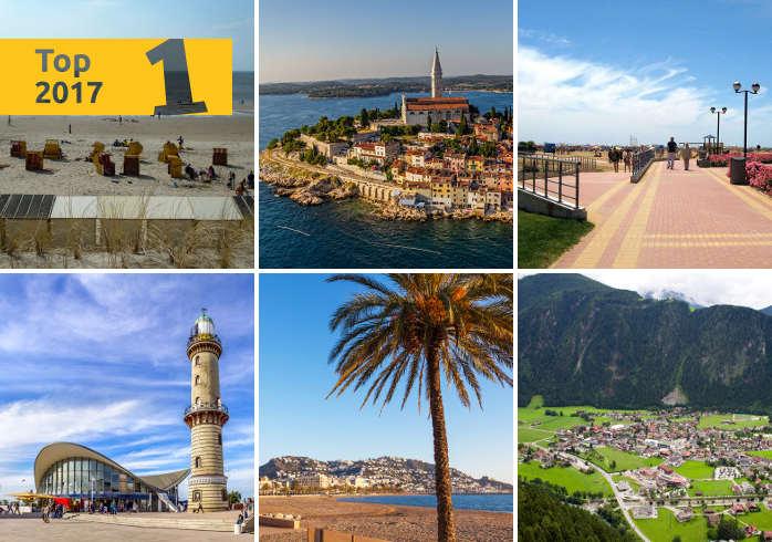 Warnemünde, Pineda, Rovinj, Egmond, Mayrhofen und Roses sind die besten Ferienorte 2017