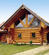 Luxueuse maison en rondins pour huit personnes située dans la lagune de Szczecin.
