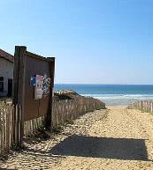 Der Weg zum Strand bei einem Ferienhaus in Mimizan-Plage.