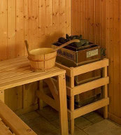 Sauna eines Ferienhauses für zehn Personen im Skigebiet Les Quatre Vallées.